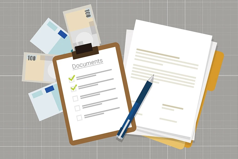Documents for car insurance claims.